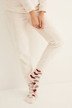 Womensecret Non-slip cosy ankle socks hearts  white