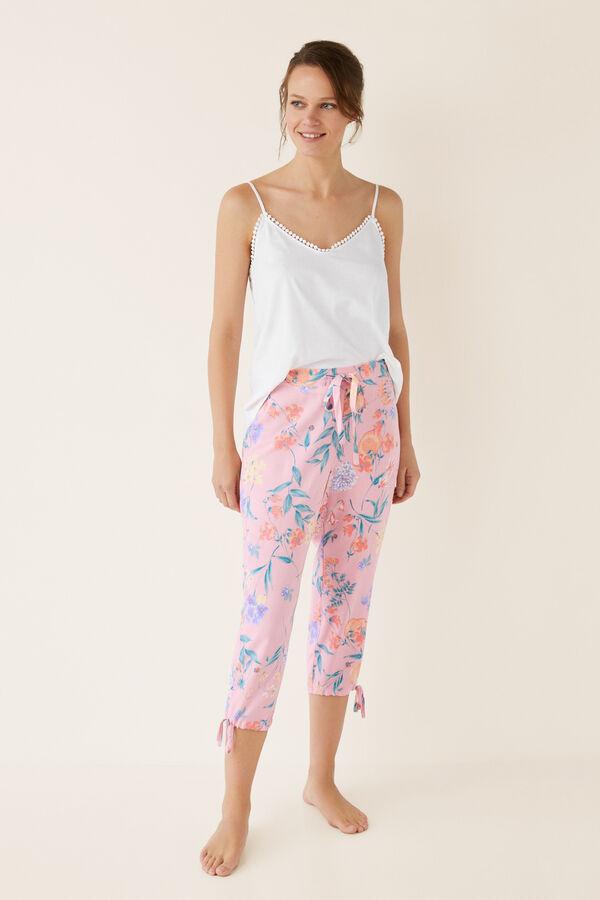 efb38abf15 Womensecret Pantalón pijama capri flores beige