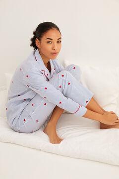 Womensecret Pijama largo camisero estampado corazón azul