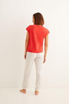 Womensecret Pijama largo de manga corta algodón fruncido rojo