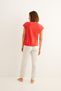 Womensecret - Langer Kurzarm-Pyjama Baumwolle Raffung rot