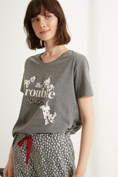 Womensecret Pijama largo algodón 101 Dálmatas gris gris