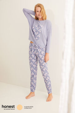 Womensecret Long blue organic cotton pyjamas blue