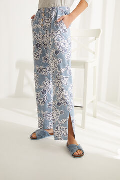 Womensecret Blue floral cotton long palazzo bottoms blue