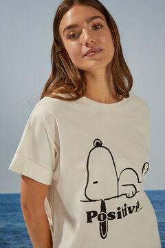 Womensecret T-shirt Snoopy doubles manches courtes beige