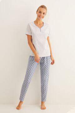 Womensecret Pyjama manches courtes imprimé bleu gris