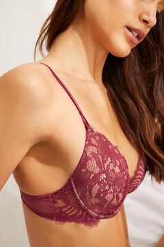 Womensecret PRETTY Maroon lace and mesh classic underwired bra printed