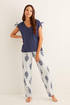 Womensecret Long printed pyjamas blue