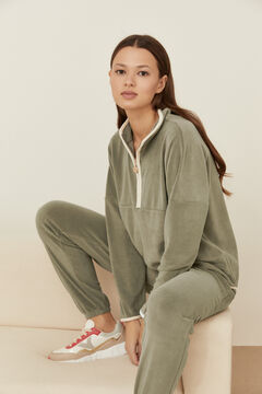 Womensecret Long khaki fleece pyjamas beige