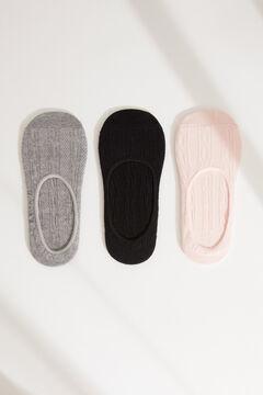 Womensecret Pack de 3 calcetines invisibles gris estampado