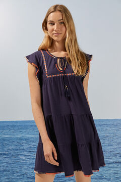 Womensecret Short cape sleeve embroidered dress with pompoms blue