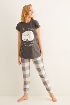 Womensecret Pyjama long carreaux T-shirt manches courtes Snoopy  gris
