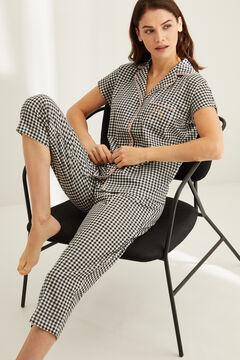 Womensecret Classic gingham capri pyjamas black