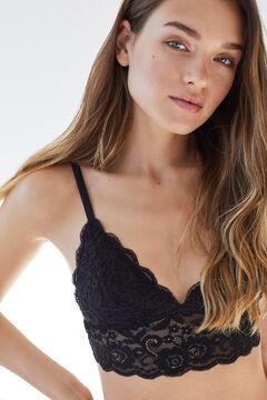 Womensecret Black lace triangle bralette bra black
