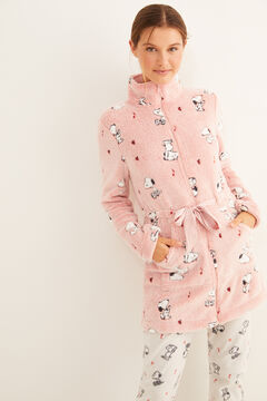Womensecret Pink Snoopy fleece robe pink
