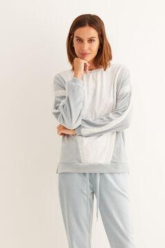 Womensecret Sweat-shirt manches longues velours color block bleu bleu