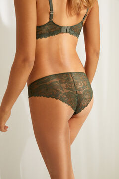 Womensecret Classic green lace and microfibre panty beige