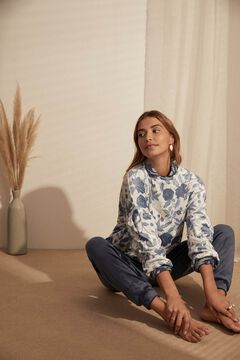 Womensecret Long blue floral print velour pyjamas white