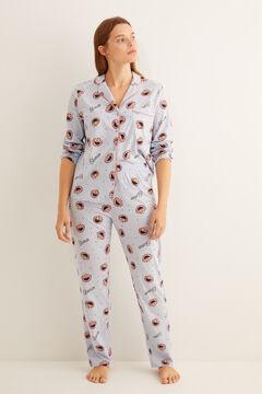 Womensecret Pyjama im Hemdlook Blau Elmo Weiß