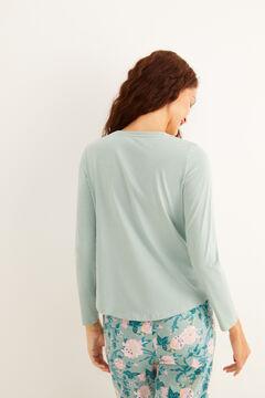 Womensecret Long-sleeved light green cotton Henley t-shirt green