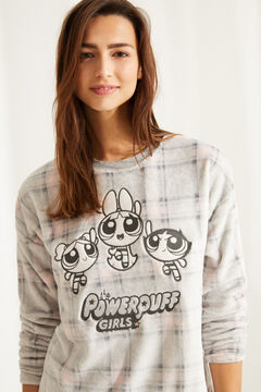 Womensecret Pijama polar Powerpuff Girls xadrez cinzento