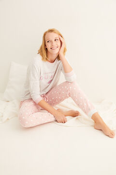 Womensecret La Vecina Rubia long pink cotton pyjamas grey