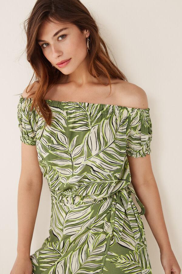 1f77afc4a26d Womensecret Top corto estampado palmeras verde