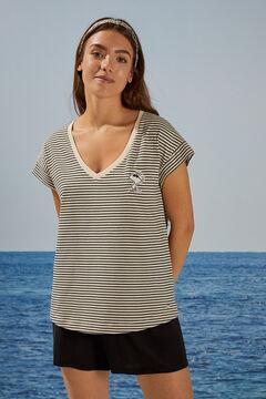 Womensecret T-shirt Snoopy rayures doubles manches imprimé