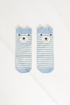 Womensecret Striped bear cotton short socks blue
