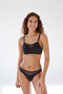 Womensecret Black microfibre tulle heat-sealed padded triangle bra black