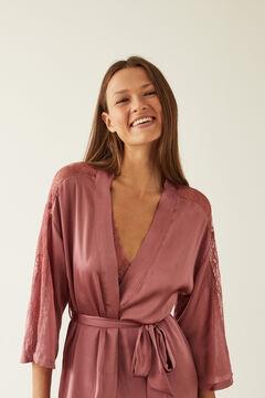 Womensecret Robe de chambre longue satin rose rose