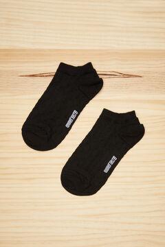 Womensecret Black cotton polka-dot short socks black