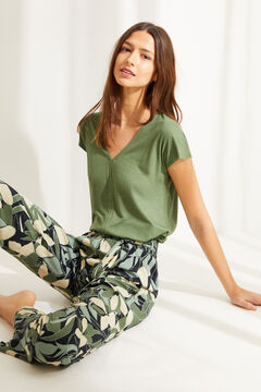 Womensecret Long fluid green floral bottoms green