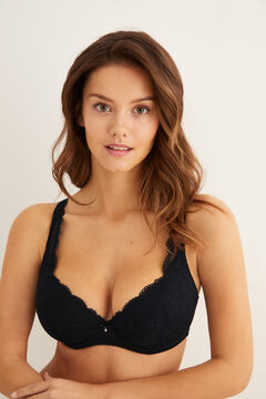 Womensecret Classic lace and plumetis bra black