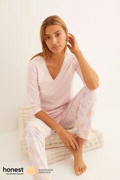 Womensecret Long pink organic cotton pyjamas pink