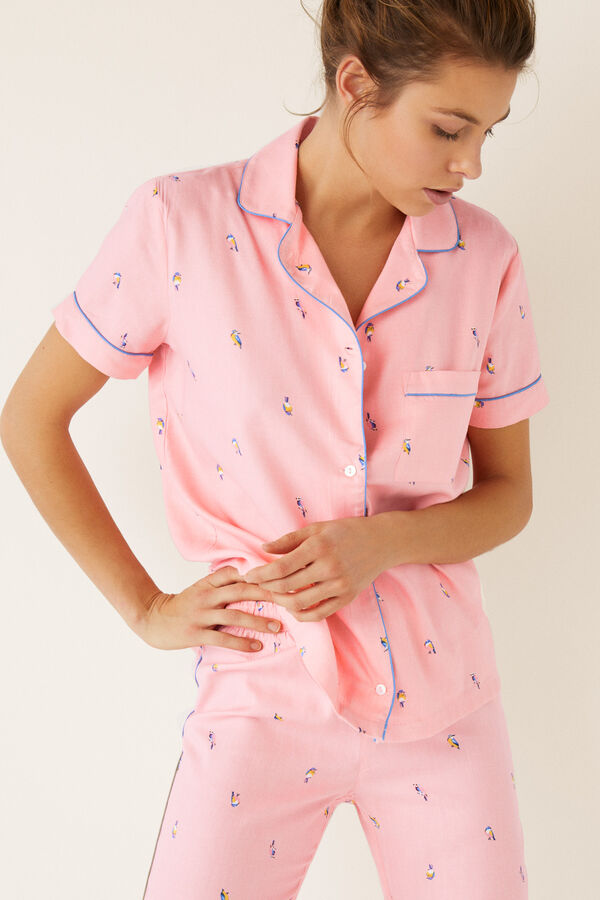 5c9508c96 Womensecret Pijama largo camisero pájaros estampado