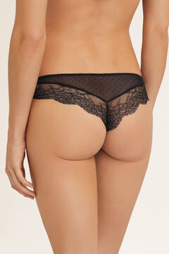 Womensecret Lace and tulle Brazilian panties black