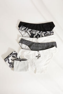 Womensecret 7-pack black and white printed cotton classic panties black
