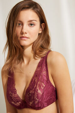 Womensecret INTUITIVE Maroon lace padded underwired halterneck bra printed