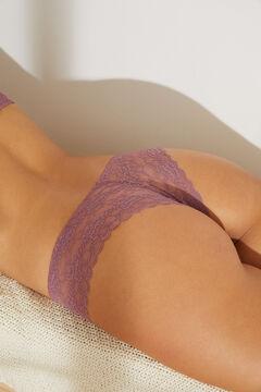 Womensecret Dark pink wide side lace Brazilian panty printed