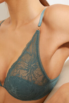 Womensecret INTUITIVE Green lace and cotton padded underwired halterneck bra green