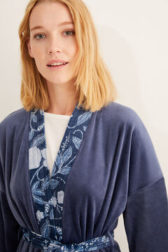 Womensecret Long velvet robe with printed details blue