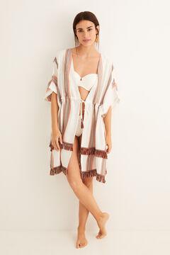 Womensecret Caftan mi-long « jacquard » beige