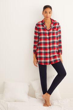 Womensecret Pijama largo camisero cuadros estampado