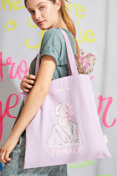 Womensecret Lilac 100% cotton printed cloth tote bag pink