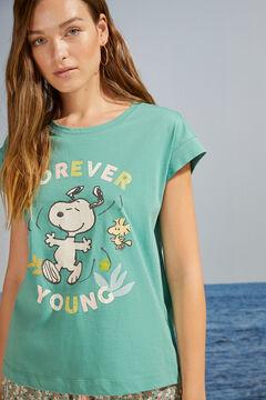 Womensecret T-shirt 100 % coton manches courtes Snoopy vert