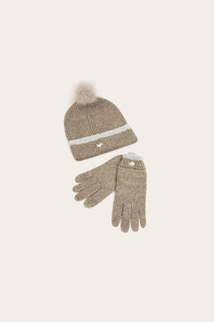 Womensecret Grey pompom hat and gloves set grey