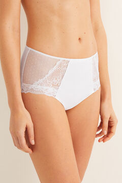 Womensecret High waist flocked panty white