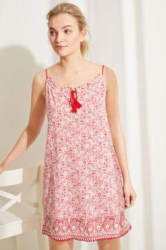 Womensecret Vestido camisón corto tirantes 100% algodón estampado floral rojo estampado