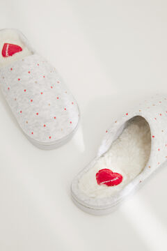 Womensecret Grey velour slider slippers printed